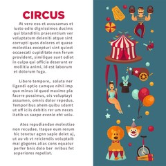 Amazing circus promo poster with participants of show and equipment.
