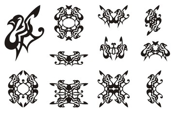 Decorative dove icons. Laconic dove symbol, frames and double symbols formed from him. Black on white