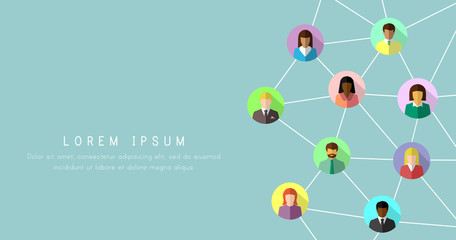 Networking concept with diverse people in colorful flat design. Social and business network banner background.