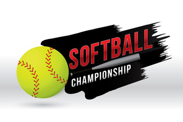 Vector of softball championship badge design.