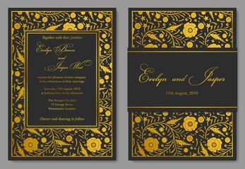 Wedding Invitation, floral invite card Design with golden foil border. Ornate gold poppy flowers on a black noble background
