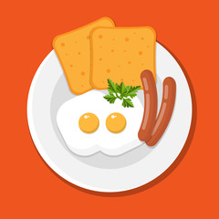 Fried eggs and sausages dish. Flat syle vector
