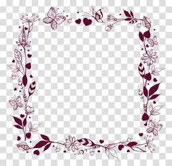 Square frame of abstract flowers and leaves on transparent background