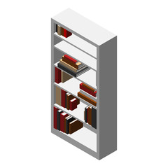 isometric white shelf with colored books vector illustration