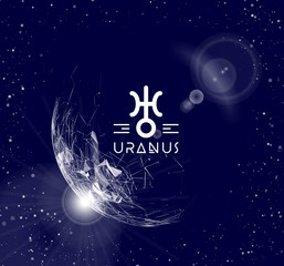 Planet Uranus in the form of polygonal mesh elements in the form of lines and points. The planet in astrology is responsible for modern technologies and innovations. Vector