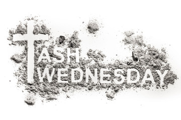 Ash Wednesday word written in ash, sand or dust