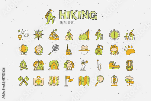 Trekking travelling icon collection hiking hand draw cartoon icons. C&ing and travel caravaning doodle  sc 1 st  Fotolia.com & Trekking travelling icon collection hiking hand draw cartoon ...