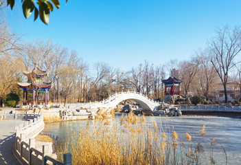 Xigu Park in winter, located in Tianjin City, China. Papier Peint