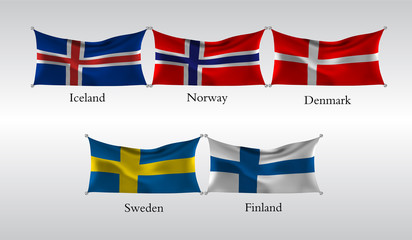 Set Flags of European countries. Waving flag of Iceland, Norway,Denmark, Sweden, Finland . Vector illustration