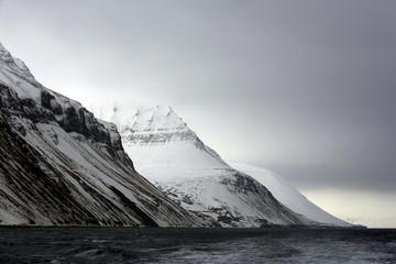 Mountains outside Longearbyen, Viewed from Water. Svalbard, Norway