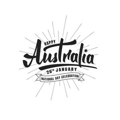 Australia Day. Typographic lettering logo for Australia National Day