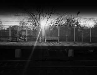 Horizontal black and white railroad city bench background
