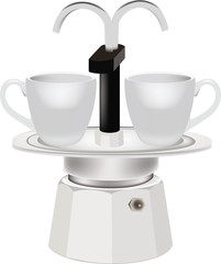 caffettiera per due tazzine di caffè