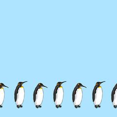 Vector decorative border from bird penguin.  Emperor penguin on blue background