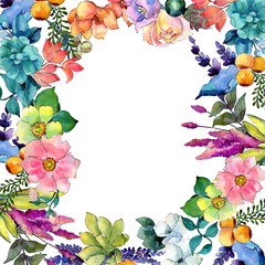 Tropical flower frame in a watercolor style. Aquarelle wild flower for background, texture, wrapper pattern, frame or border.