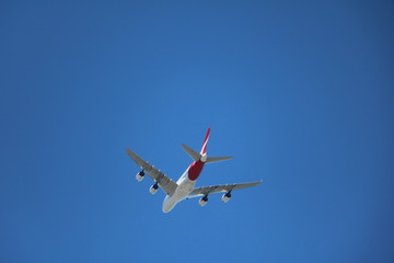 Australian passenger airplane in the air
