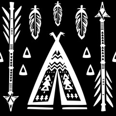 Seamless pattern with wigwams and arrows