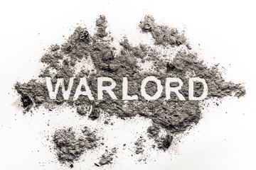 Warlord word written in ash, sand or dust