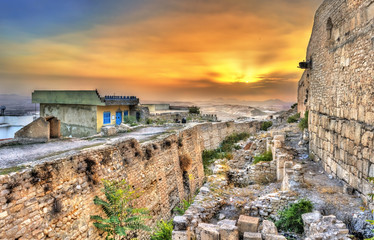 Sunset above the walls of the Kasbah, a medieval fortress in le Kef, Tunisia