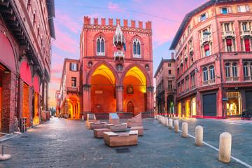 Palazzo della Mercanzia at sunset in Bologna, Emilia-Romagna, Italy