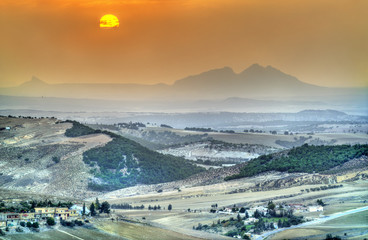 Sunset above hills in North-West Tunisia near Le Kef