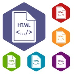 File HTML icons set