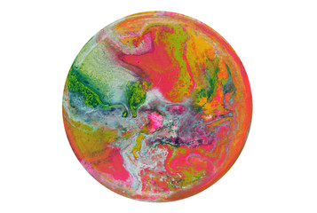 Acrylic circle blots. Abstract background. Marble texture.