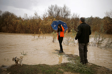 A girl poses for a photo on a riverbank of the flooded Besor stream on a rainy day, near Kibbutz Tze'elim at the Negev desert