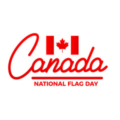 Canada Flag Day. Label of Lettering Canada and National Flag