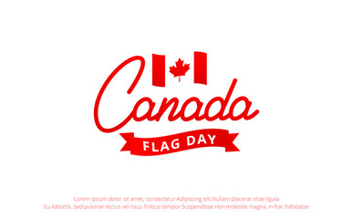 Canada Flag Day. Banner with Lettering Canada and National Flag