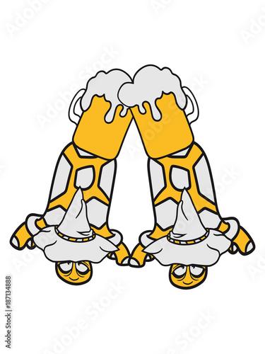 Anstoßen 2 Freunde Team Paar Bier Alkohol Trinken Durst Oktoberfest