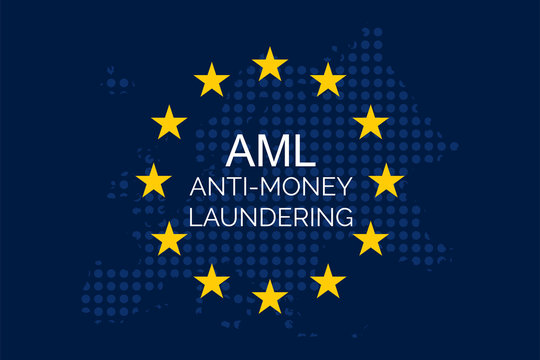 Anti-money laundering concept on European Union Flag