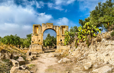 Arc of Emperor Severus Alexander at Dougga. UNESCO heritage site in Tunisia