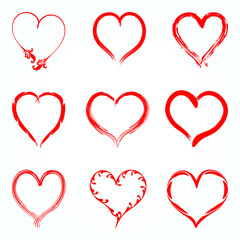 Set of red vector hearts from the outline of different brushes