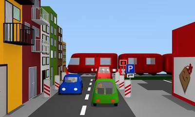 Straße mit bunten Autos, Bahnübergang, Häusern und Straßenschildern. 3d render