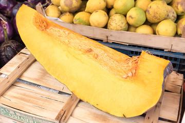 Slice of yellow pumpkin