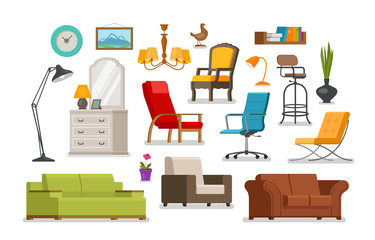 Interior, furnishings, furniture store concept. Vector illustration