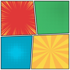 Wall Mural - Comics pop art style blank layout template. Explosion, beams and dots pattern background.