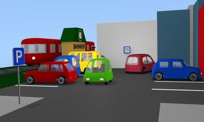 Parkplatz mit ein- und aus parkenden Autos und Parkplatzschildern.