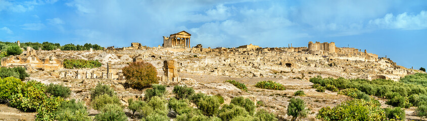 Panorama of Dougga, an ancient Roman town in Tunisia