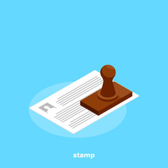 sheet of paper and wooden stamp, isometric image