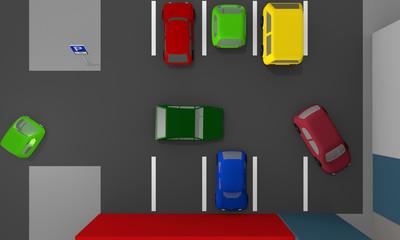 Parkplatz mit ein- und aus parkenden Autos und Parkplatzschildern. Ansicht von oben.