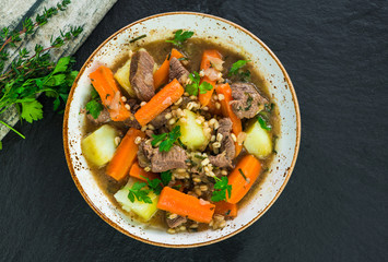 Traditional Irish stew - top view