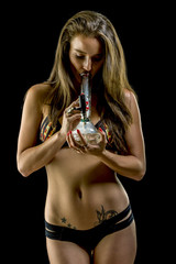 Sexy Model wearing pizza pot leaf bikini smoking glass bong