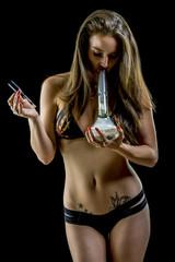 Sexy Model wearing pizza pot leaf bikini smoking glass bong