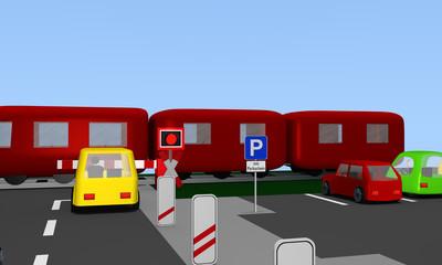 Bahnübergang mit Andreaskreuz und vorbeifahrenden Zug. Seitlich ein Parkplatz mit Straßenschild.