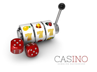 3d Illustration of Slot machine with lucky sevens jackpot and dices