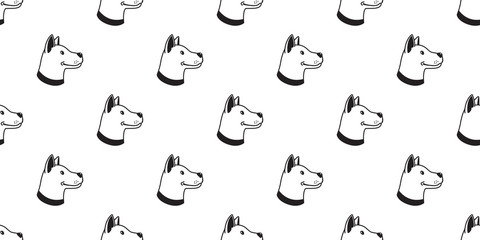 Dog Seamless Pattern vector Head bulldog hound tile background isolated wallpaper