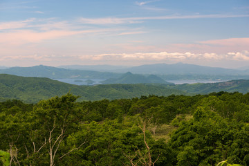 Panoramic views on beautiful clear mountain lakes of Shikotsu-Toya National Park, Hokkaido, Japan