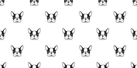 dog Seamless vector french bulldog Pattern face head isolated wallpaper background